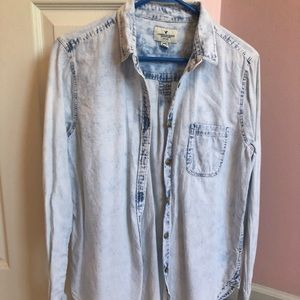 American Eagle button-down white washed jean shirt